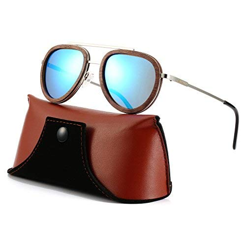 b1a3eb0a096 Amazon.com  JBAMBOO Aviator Sunglasses Wood Polarized for Men and ...