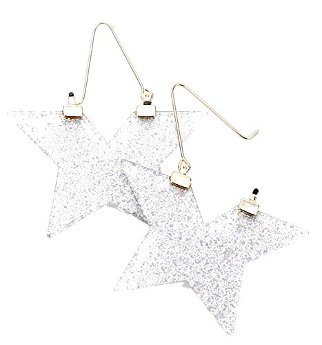 (White and Gold Glittered Star Pin Catch Earrings, 2