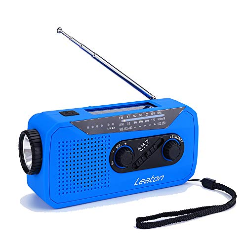 Solar Power, Dynamo Crank,Wind Up Emergency Weather Radio, NOAA/AM/FM Portable Radios with LED Flashlight, Earphone Jack, Charge Indicator, 2000mAh Power Bank Cellphone Charger