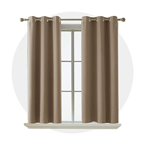 Blackout Curtain Room Darkening Thermal Insulated Curtains Grommet Window Curtain for Bedroom Khaki 38 x 54 Inch 2 Panels