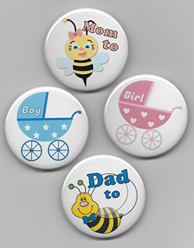 """2-1/4"""" """" Blue Boy & Pink Girl Baby Buggy Carriage PLUS Mom to Bee & Dad to Bee Gender Reveal Baby Shower Party Favors Pin Back Buttons Round Pinback Set of 22"""