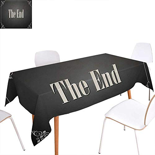 Warm Family Movie Theater Washable Tablecloth The End Quote with Swirled Frame on an Abstract Ombre Background Waterproof Tablecloths 70