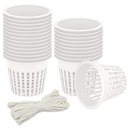Oak Leaf 25-Pack 3 Inch Hydroponic Cups Net Pots Cups with Self-Watering Capillary Water Wick (10m 32.8ft) for Hydroponics, Slotted Mesh, White