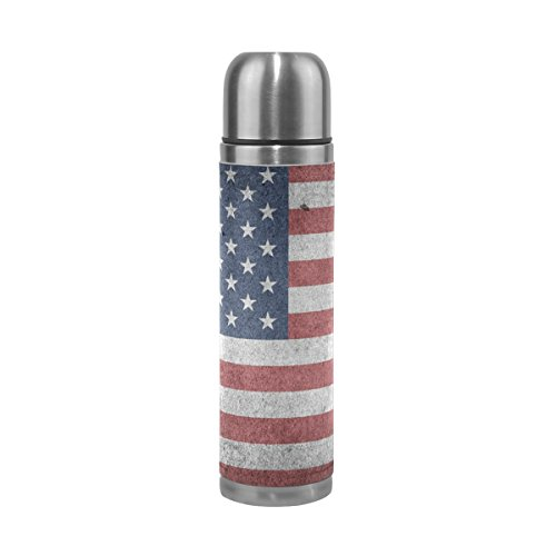 TSWEETHOME Vacuum Insulated Water Bottle Double Wall Stainless Steel Leak Proof Wide Mouth with Novelty Graphic Vintage American Flag Compact Bottle Beverage Bottle