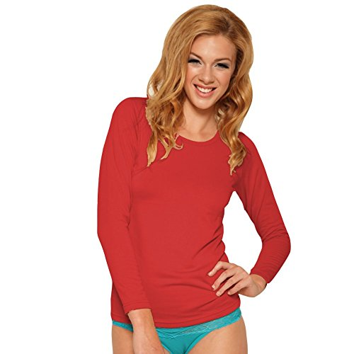 Angelina Lady's Fleece Lined, Crew neck, Long Sleeves Thermal Top, #7915 Red_L
