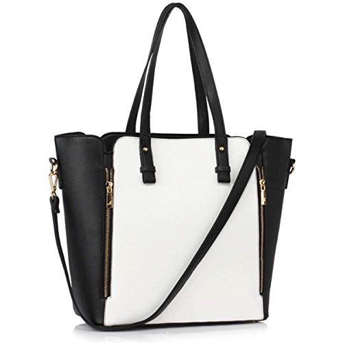 LeahWard Women's Zipper Handbags Great Tote Bags Shoulder Bag For Her School Holiday 502 Black/White