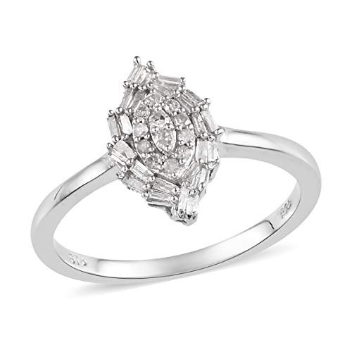 Baguette Diamond Cluster Ring 925 Sterling Silver Platinum Plated Jewelry for Women Size 7 Ct - Diamond Platinum Ring Cluster