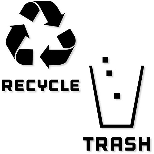 Recycle and Trash Stickers Modern Logo (1 ea) Symbol to Organize Trash cans or Garbage containers and Walls - Vinyl Decal Sticker (XSmall - 2.75x2.75, Reversed - Black Matte)