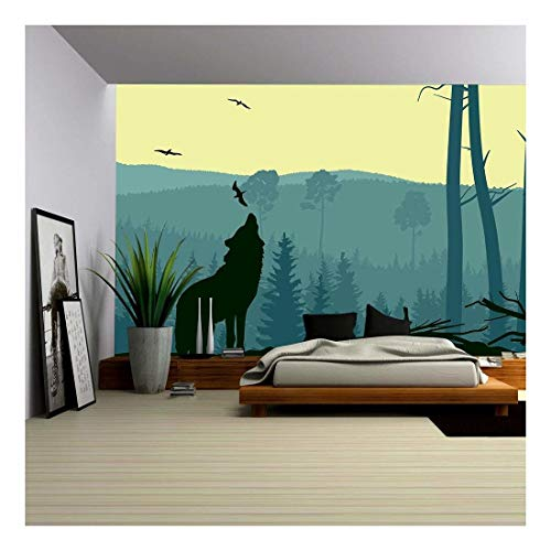 wall26 - Horizontal Abstract Banners of Wild Animals (Deer, Wolf) in Hills of Forest with Trunks of Trees in Green Tone. - Removable Wall Mural | Self-Adhesive Large Wallpaper - 100x144 inches
