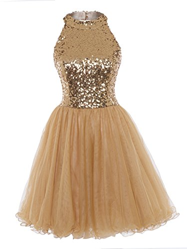 A-line Sequin - Tanpell Women's A Line Sequins Backless Short Prom Gowns Cocktail Party Dress Golden12