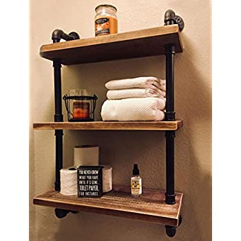 Image of Home and Kitchen FODUE Industrial Pipe Shelving Bookshelf Rustic Modern Wood Ladder Storage Shelf 3 Tiers Retro Wall Mount Pipe Design DIY Shelving (24inch)