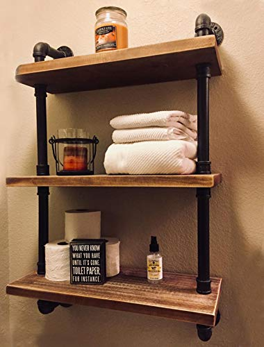 FODUE Industrial Pipe Shelving Bookshelf Rustic Modern Wood Ladder Storage Shelf 3 Tiers Retro Wall Mount Pipe Design DIY Shelving (24inch) ()
