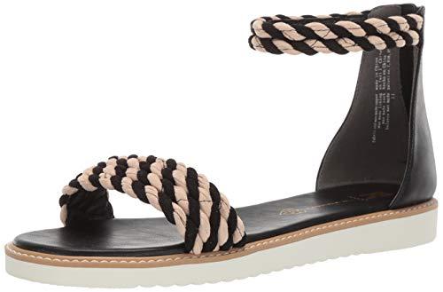 BC Footwear Women's On a Pedestal Flat Sandal, Black/Sand, 11.0 Medium US