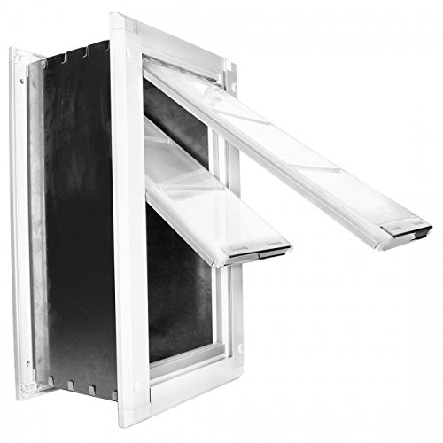 Medium Flap 20.3cm X 38.1 cm - Endura Flap Double Flap Wall Mount Pet Door- Severe Weather Proof Pet Door, Aluminum Tunnel, Magnetic Seal, Installs in Walls 5.1cm- 20.3cm, Medium White ()
