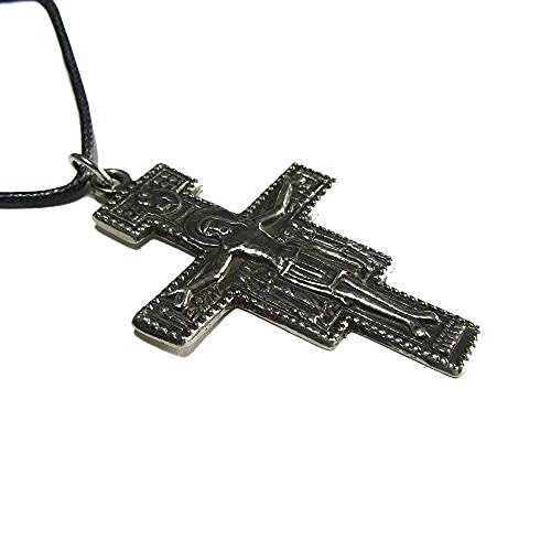 The Cross of San Damiano Pewter Pendant with Cord ()