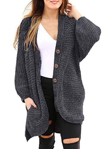 Women's Long Sleeve Button Down Oversized Open Front Cardigans Loose Chenille Knit Sweater Coat Casual Outwear Pocket Dark Grey M 8 10