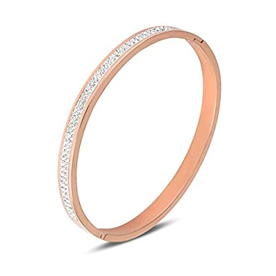 LETS MEETi High Polished Stainless Steel Hinged Band Bangle Cubic Zirconia Bracelet for Women Jewelry from LETS MEETi
