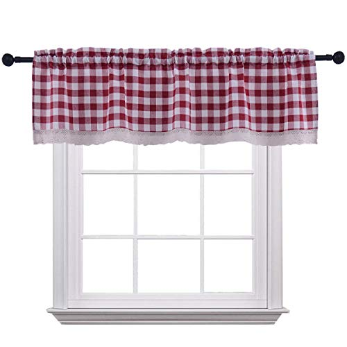 Christmas Curtain Valances for Windows Gingham Cotton Blend Window Curtains for Kitchen Living Dining Room 58 x 15 inches Rod Pocket 1 Plaid Valance Wine/Burgundy