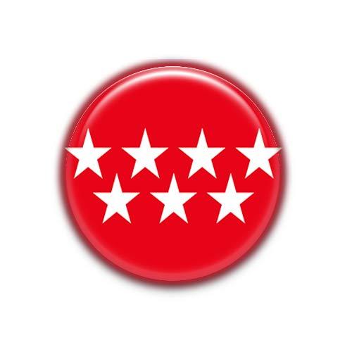 Madrid : Bandera Comunidad Autonoma Española, Pinback Button Badge 1.50 Inch (38mm)