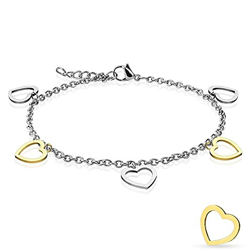 - Gold and Steel Heart Dangling Charms 316L Stainless Steel Anklet/Bracelet