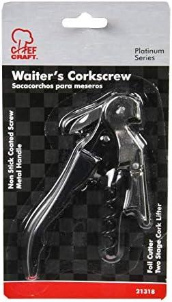Chef Craft 21318 - Sacacorchos para camareros de color negro y plateado, de 11,4 cm
