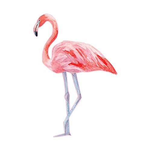 - Watercolor Painted Pink Flamingo Full Color Vinyl Decal - Sized for Stainless Steel Tumbler