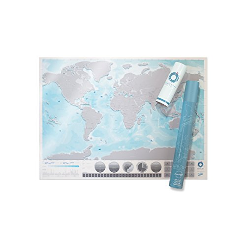 Large World Ocean Scratch Map – Personalized World Ocean Travel Map – Scratch Off Map – Transparent & Colorful Scratch Poster – Great for Classrooms & Travelers – Blue & ()