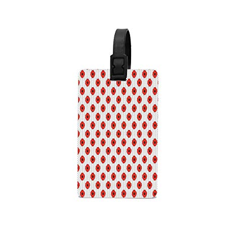(Puyrtdfs Warm Colored Blossoming Flowers on Polka Dotted Background Luggage Tag Luggage Tag Suitcase Suitcase Label Bag Travel)