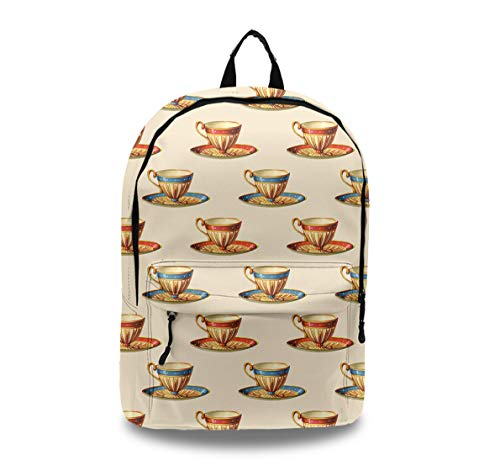 - Casual Style Lightweight Laptop Bag/Durable Travel Backpacks/Rucksack for Men&Women/Fashion Backpack (Coffee Tea Cup Print)
