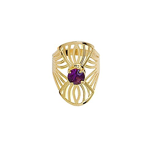 My Jewelry Spot 14K Yellow Gold Filled Ring Filigree Violet Gemstone Central (7) ()