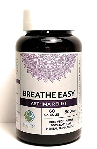 Blue Sky Herbal Asthma-aid 60 Capsules - 500mg Each. Our Pills Aid Healthy Breathing And Lung Function & Help With Allergies And Allergen Issues. Natural Sinus Support Supplement To Clear Air Ways