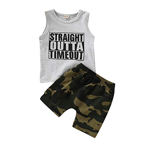 Kids Toddler Baby Boy Funny Letters Print Sleeveless Shirt Tank Tops+Camouflage Shorts Outfit Set (Gray B, 3-4T) for $<!--$5.98-->