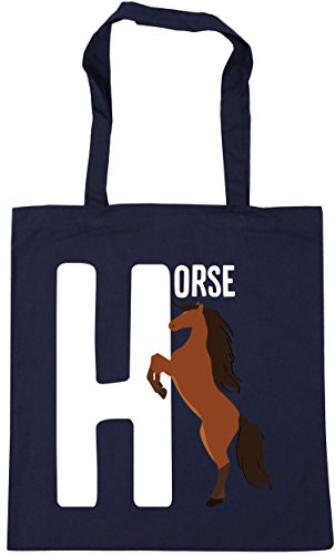 HippoWarehouse litres horse is 10 animal x38cm H 42cm Shopping Gym Tote for alphabet Beach Bag Navy French w6t5wnxpqr