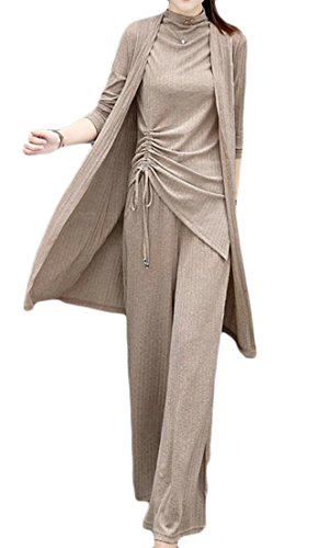 Cromoncent Women's 3 Pcs Modest Pure Color Tank Tops Cardigan Wide Leg Pants Casual Vogue Set Beige L by Cromoncent