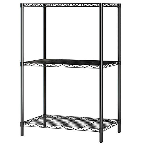 (Home-Like 3-Tier Wire Shelving Metal Storage Rack Shelving Unit Storage Shelf Pantry Food Shelf Plant Shelves in Black for Kitchen Living Room Office Garage 21.06''Wx13.78''Dx32.08''H(3-Tier/Black))