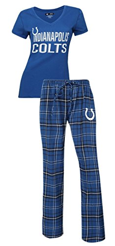 Concepts Sport Indianapolis Colts NFL Game Day Women's T-Shirt & Flannel Pajama Sleep Set