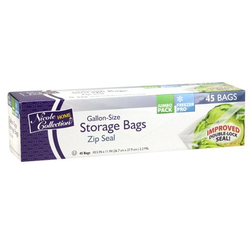Gallon 45k (Nicole Home Collection 45 Count Zip Seal Gallon Size Storage Bags)