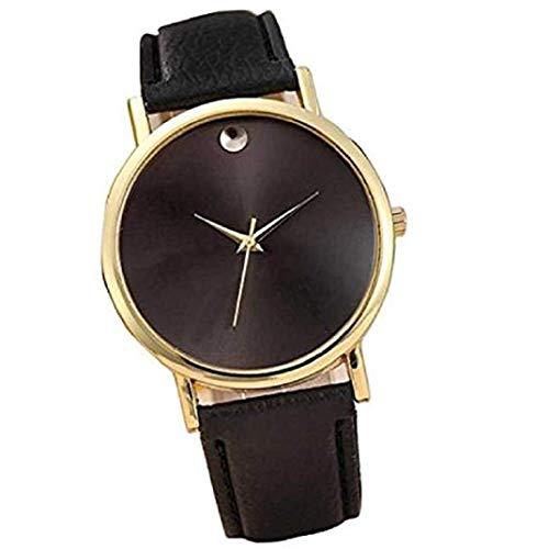 TOPOB Analog Quartz Watch PU Processor Leather Bracelet, Simple Design Solid Color Dial Business Casual Watch (Black) (Analog Processor)