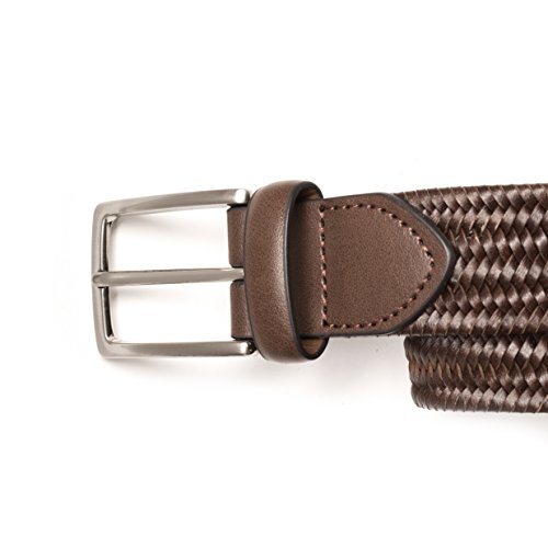1RedPlace Mens Braided Leather Casual Stretch Belt (34/36, Brown)