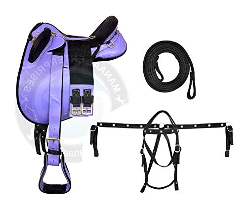 ME Enterprises Synthetic Suede Australian Stock English Horse Saddle Tack Get Stirrup, Matching Girth Nylon Headstall Breast Collar & Reins Size 14 to 18 Inch Seat Available (14.5