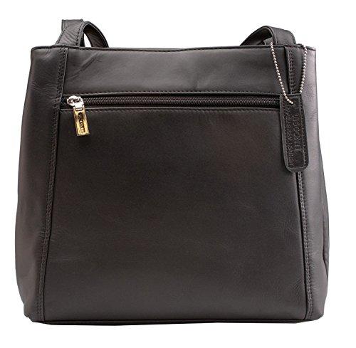 Visconti Atlantic Bolso de mano / al hombro de cuero auténtico # 18181 Negro