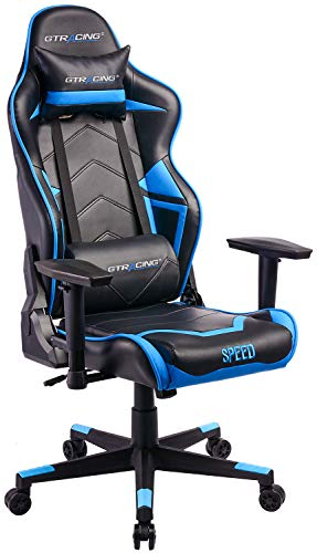GTRACING Ergonomic Office Chair Racing Chair Backrest and Seat Height Adjustment Computer Chair with Pillows Recliner Swivel Rocker Tilt E-Sports Chair (102-Blue) GTRACING