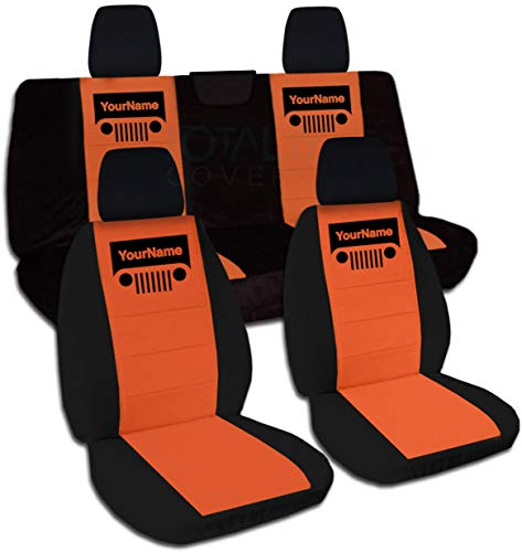 Rear Solid Full Door - Totally Covers Fits 2018-2019 Jeep Wrangler JL Two-Tone Grill Seat Covers w Your Name/Text: Black & Orange - Full Set: Front & Rear 2-Door/4-Door Solid/Split Bench w/wo Armrest/Headrest