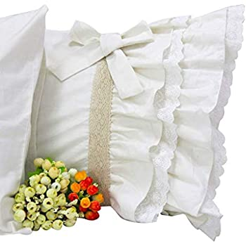 Amazon Com Queen S House Off White Lace Ruffle Pillow