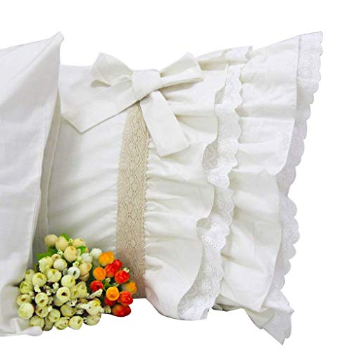 Standard Lace Pillowcase ( Queen's House Off White Lace Ruffle Pillow Cases Shams Standard Set of 2-B)