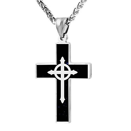 - Hei Bai.J Cross Pendant Necklace Presbyterian Cross Christian Religious Jewelry For Men and Women
