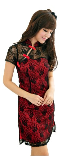 Women's Lace Sexy Lingerie Chinese-style Cheongsam Dress+t-back