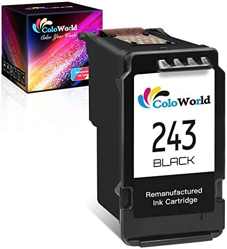 ColoWorld Remanufactured Ink Cartridge Replacement for Canon PG-243 PG-245XL (1 Black) to Use with Canon Pixma TS3122 MX490 MG2522 TR4520 TR4522 MX492 TS3322 MG2922 MG3022 TR4500 Printer