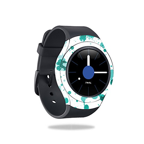 MightySkins Skin Compatible with Samsung Gear S2 Smart Watch wrap Cover Sticker Skins Teal Splatter by MightySkins
