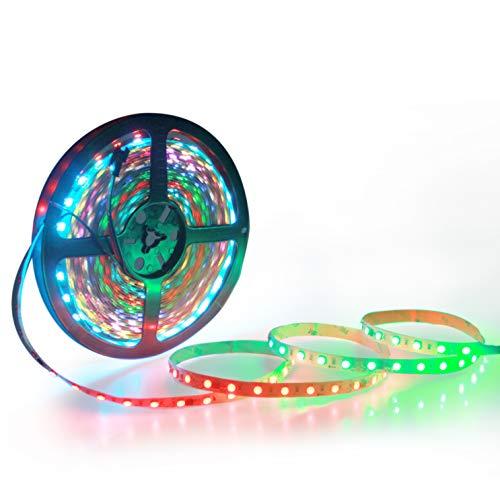 ALITOVE RGB LED Strip Light 32.8ft WS2811 Addressable Programmable Dream Color Digital LED Pixel Light 24V 10m 600 LEDs Rainbow Chasing Effect LED Flexible Light Rope Non-Waterproof White PCB